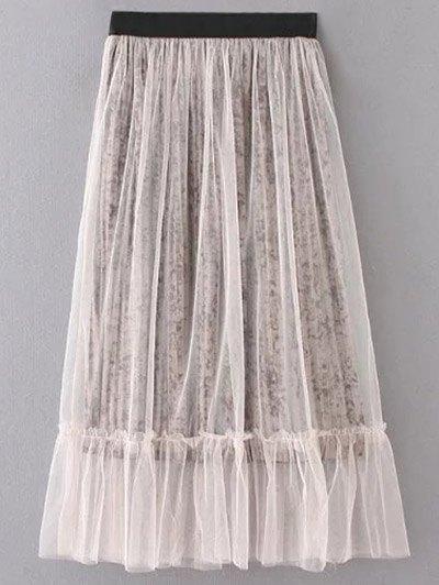Mesh Tea Length Skirt
