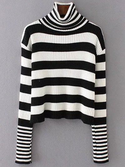 Funnel Neck Striped Ribbed Sweater