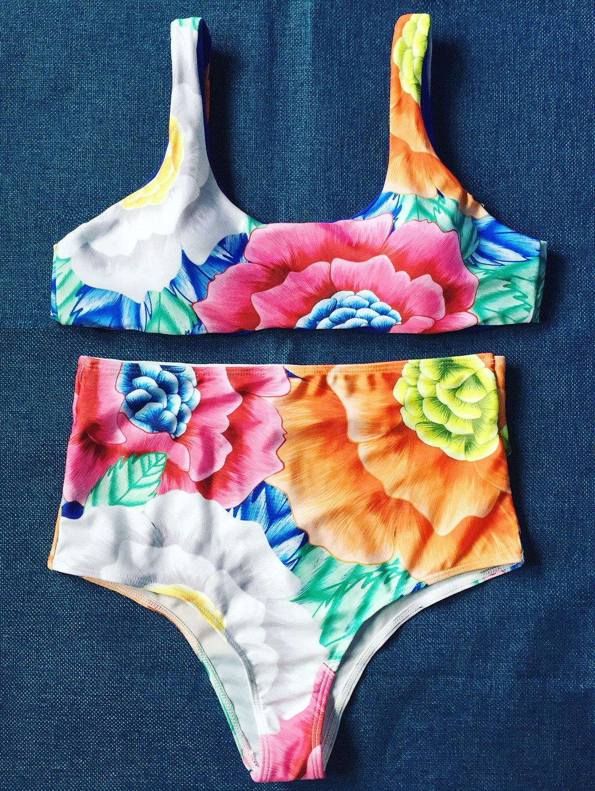 Floral Print High Rise Pullover Bikini