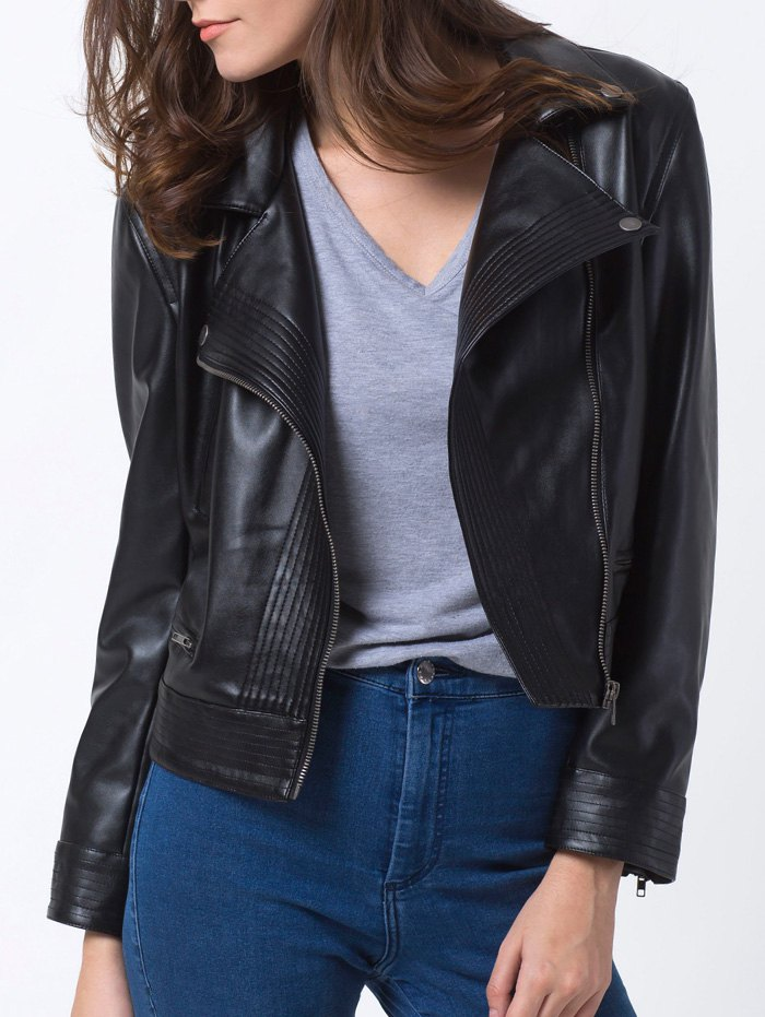 Lapel PU Leather Biker Jacket