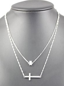Layered Cross Grail Necklace - Silver