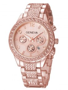 Rhinestoned Quartz Wrist Watch - Rose Gold