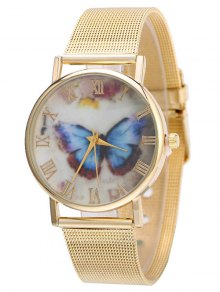 Metal Mesh Band Butterfly Analog Watch