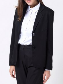 Back Slit Lapel Collar Blazer - Black