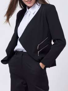 Open Front Draped Zipper Blazer - Black
