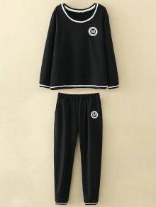 Plus Size Applique Top And Pants - Black 3xl