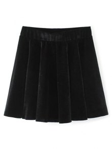 Velvet A Line Mini Skirt - Black L
