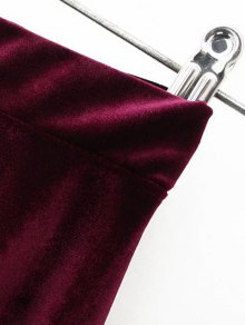 Velvet A Line Mini Skirt - PURPLISH BLUE M