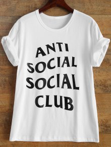 Buy Short Sleeve Anti Social Graphic Tee L WHITE