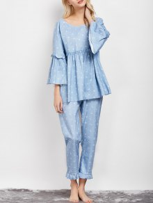 Letter Ruffles Smock Top And Pants Pajama - Light Blue