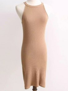 Ribbed Sleeveless Knitted Bodycon Dress