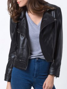 Lapel Zipper Biker Jacket - Black