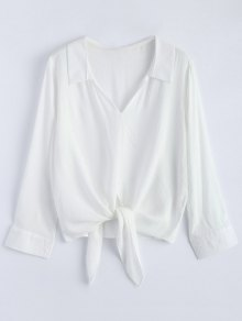 Loose Tied Blouse - White