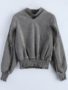 Oversized Choker Sweatshirt - Gray