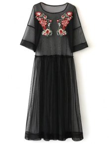 See Thru Tulle Embroidered Maxi Dress - Black M