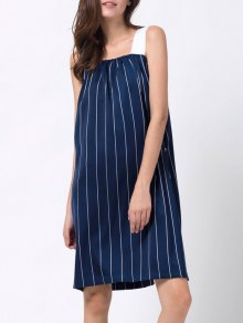 Striped Single-Breasted Tank Dress