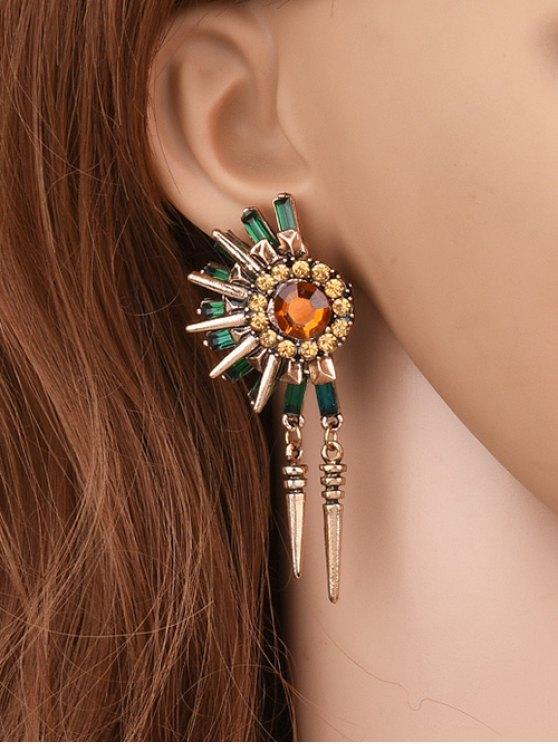 Pendientes Diseño Floral Borla Remache Imitación Diamantes - Dorado