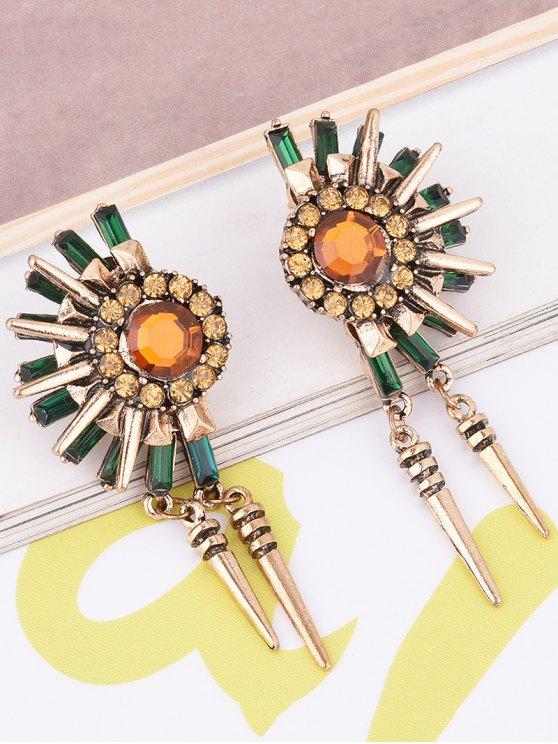 Rhinestone Floral Rivet Tassel Earrings - GOLDEN  Mobile