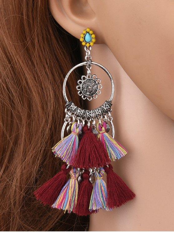 Sunflower Tassel Round Drop Earrings - BURGUNDY  Mobile
