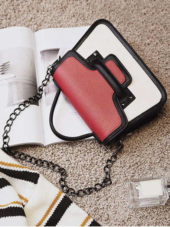 Chains Color Block Handbag - RED  Mobile