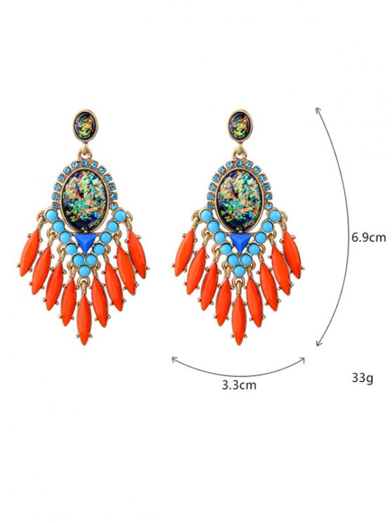 Artificial Gemstone Oval Drop Earrings - JACINTH  Mobile