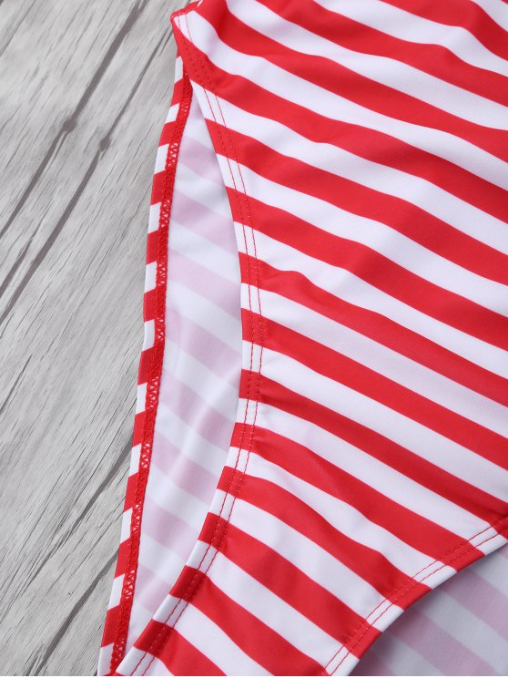 Stripe Drop Armhole Swimsuit - RED WITH WHITE L Mobile