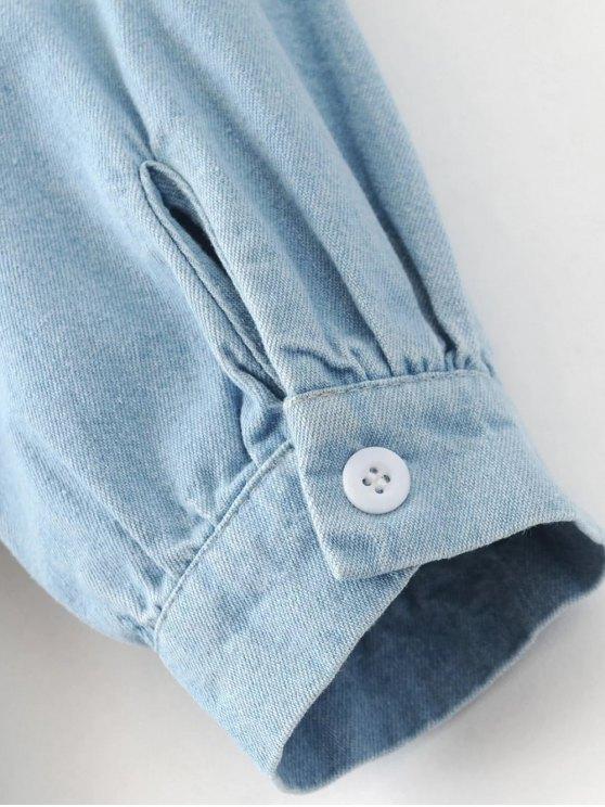 Denim Embroidered Tunic Dress - LIGHT BLUE L Mobile