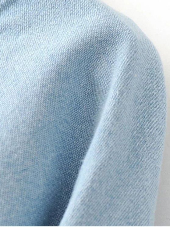 Denim Embroidered Tunic Dress - LIGHT BLUE M Mobile
