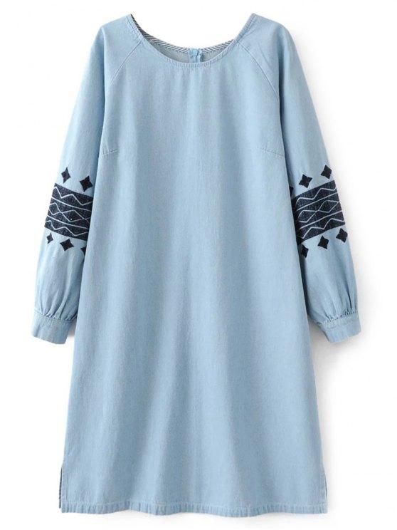 Vestido bordado del dril de algodón - Azul claro M