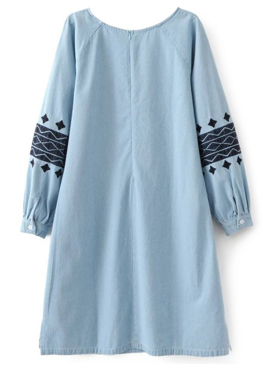 Denim Embroidered Tunic Dress - LIGHT BLUE S Mobile