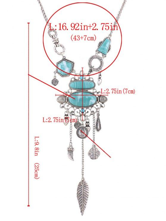 Resin Carved Leaf Necklace - SILVER  Mobile