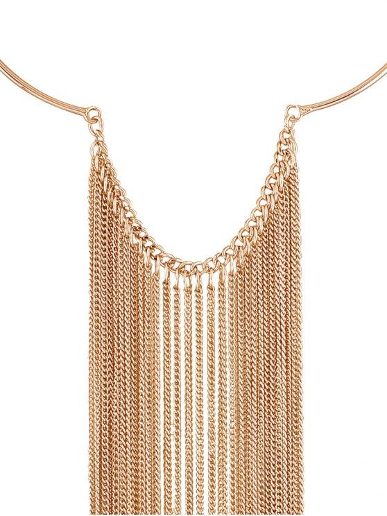 Long Tasseled Necklace Set - GOLDEN  Mobile