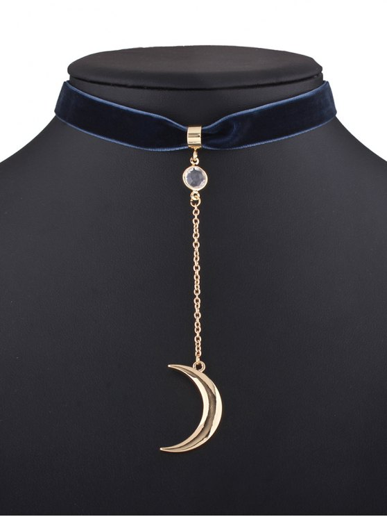 Moon Pendant Velvet Choker - PURPLISH BLUE  Mobile