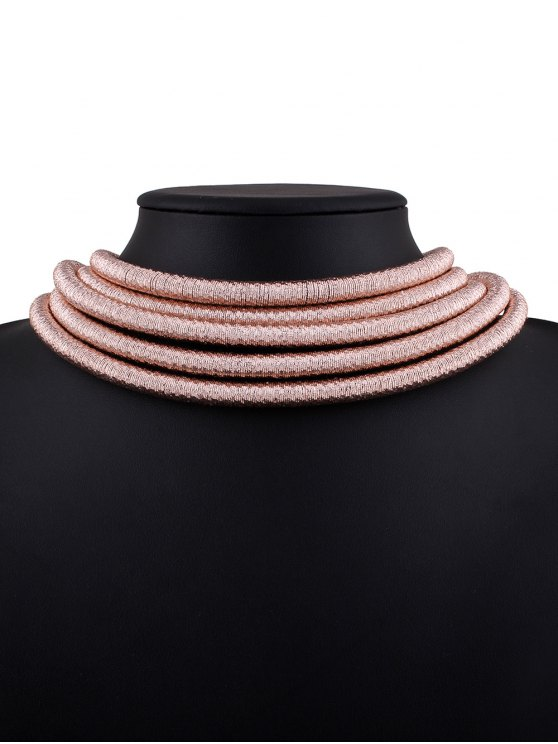 Hollow Braided Rope Necklace - PINK  Mobile