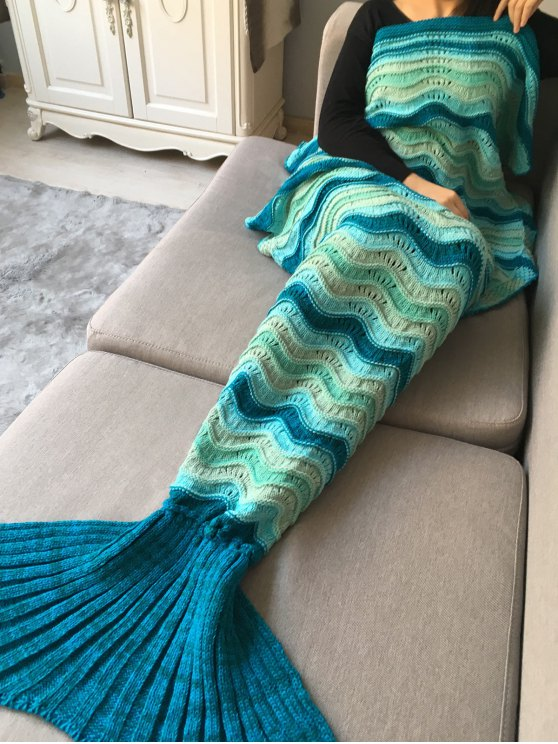 Wave Striped Crochet Knit Mermaid Blanket Throw -   Mobile