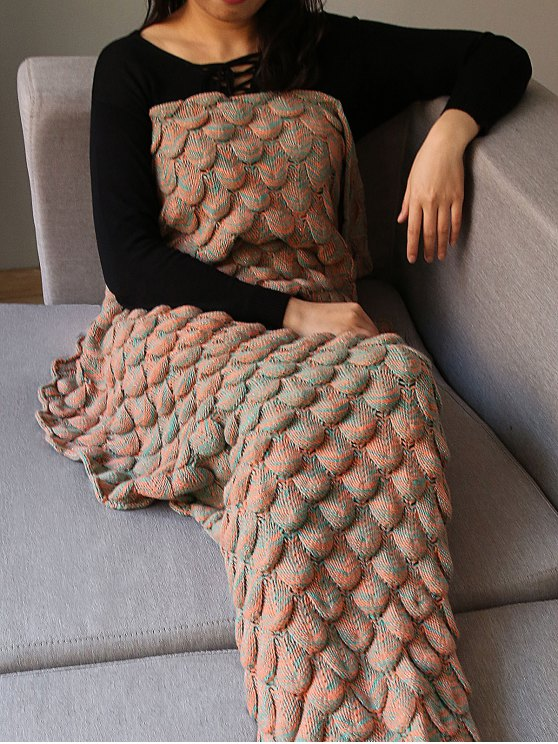 Fish Scale Knit Long Mermaid Blanket Throw - LIGHT BROWN  Mobile