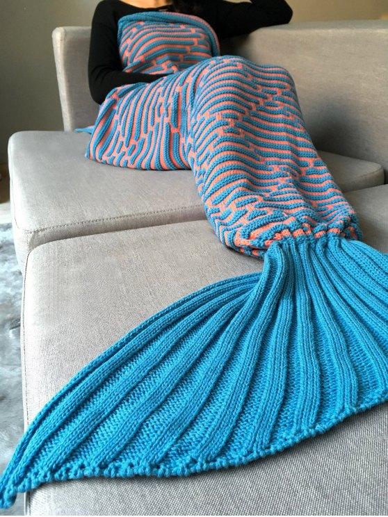 Stripy Knit Mermaid Blanket Throw -   Mobile