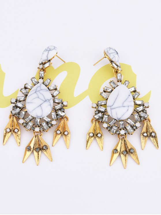 Water Drop Fake Gem Tassel Earrings - WHITE  Mobile