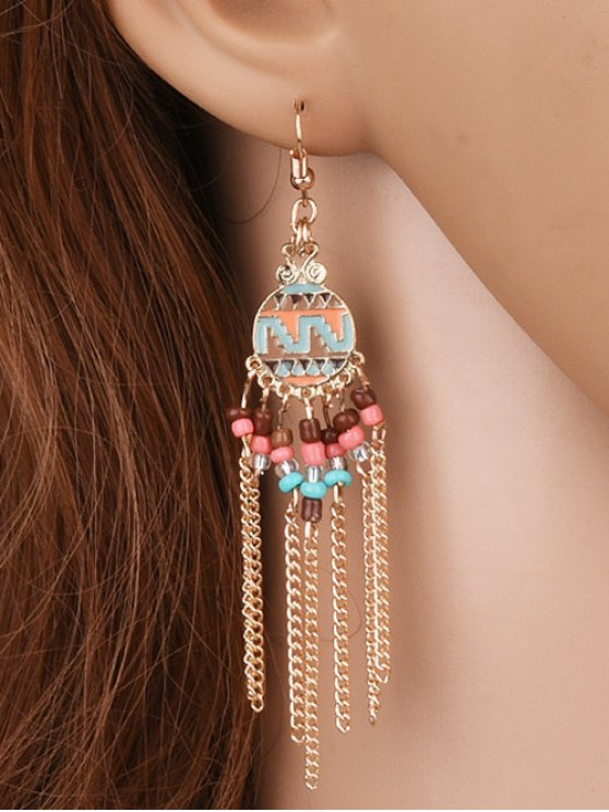 Beads Chain Tassel Drop Earrings - GOLDEN  Mobile