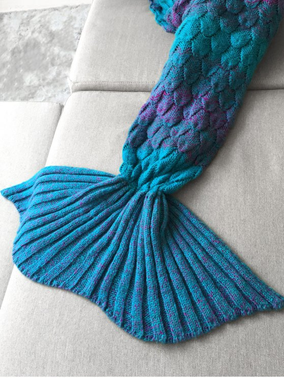 Fish Scale Crochet Mermaid Blanket Throw - TURQUOISE  Mobile
