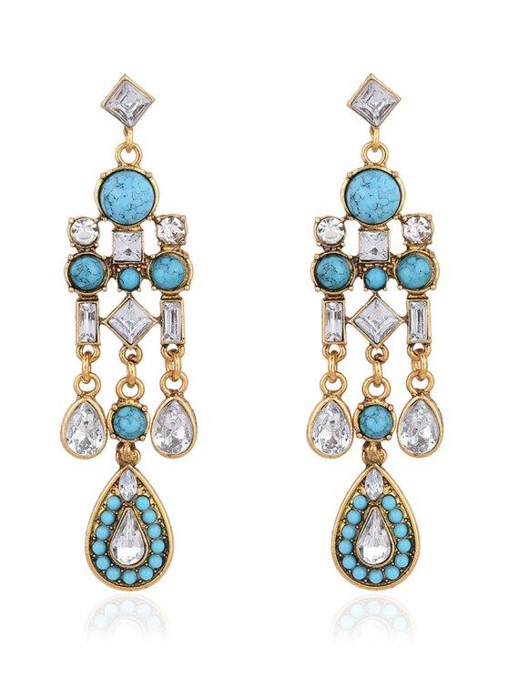 Water Drop Fake Crystal Tassel Earrings -   Mobile