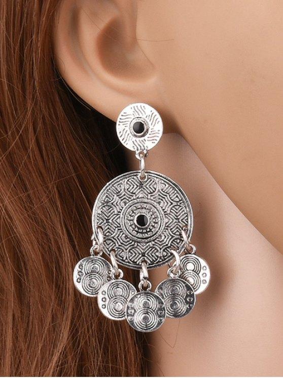 Coin Shape Tassel Drop Round Earrings -   Mobile