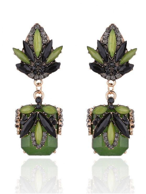 Fake Jade Rhinestone Drop Earrings -   Mobile