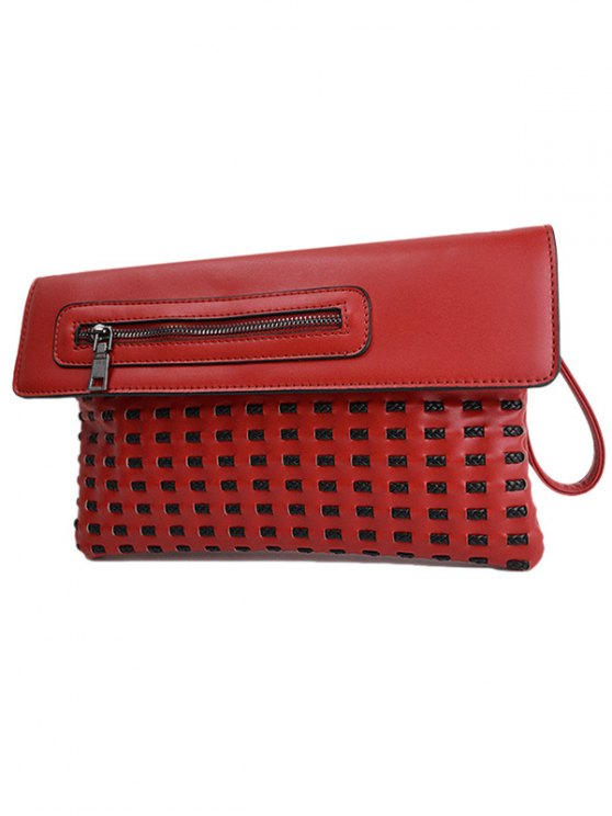 Cut Out Woven Clutch Bag - RED  Mobile