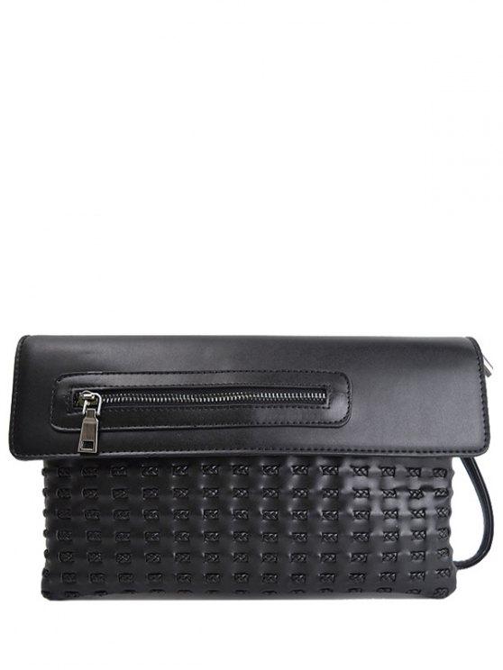 Cut Out Woven Clutch Bag - BLACK  Mobile