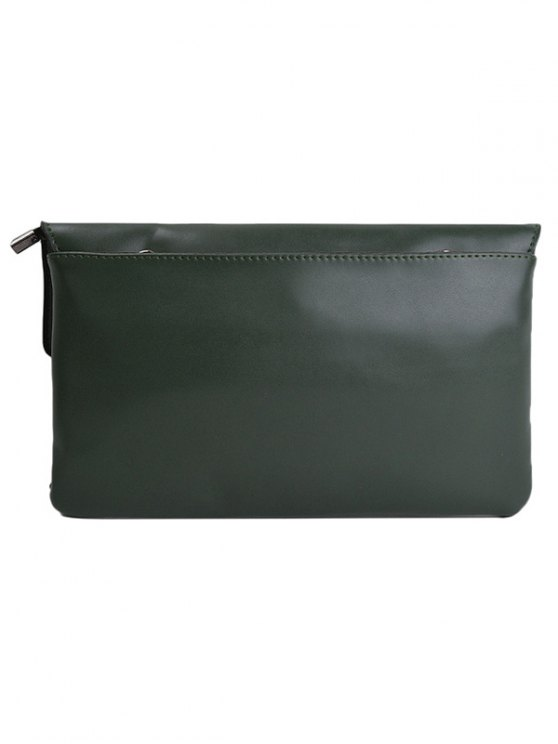 Cut Out Woven Clutch Bag - GREEN  Mobile