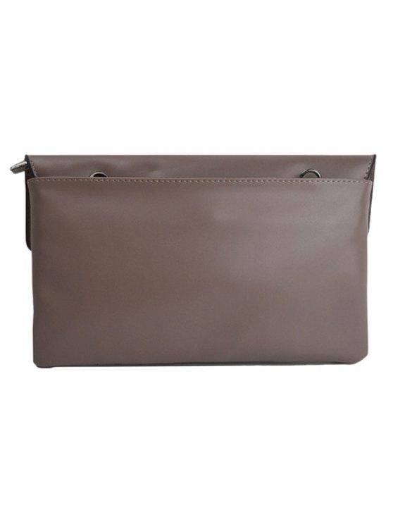 Cut Out Woven Clutch Bag - DARK KHAKI  Mobile