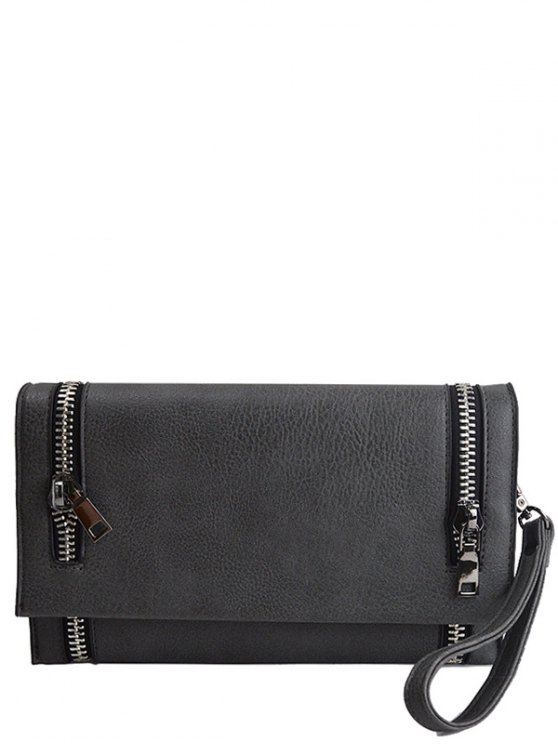 Zips Embellished Clutch Bag - DEEP GRAY  Mobile