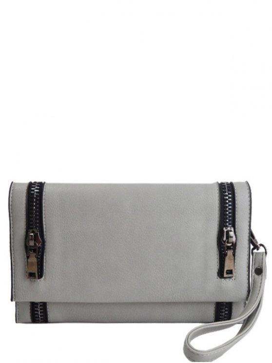 Zips Embellished Clutch Bag - LIGHT GRAY  Mobile