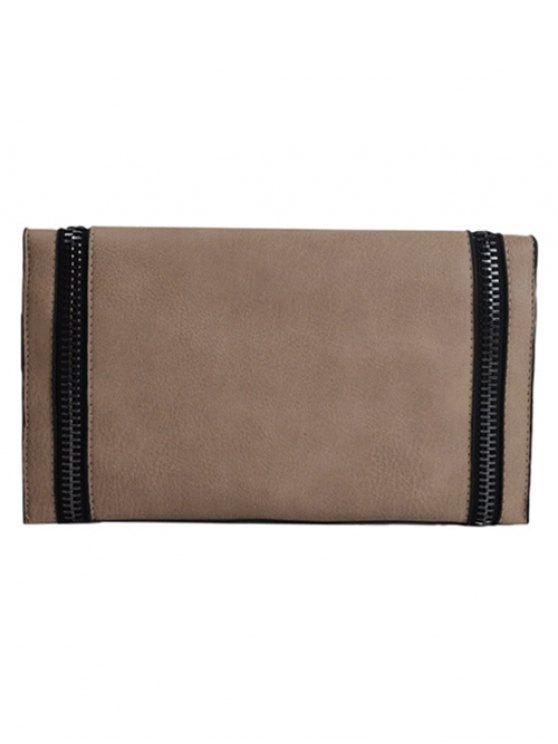 Zips Embellished Clutch Bag - KHAKI  Mobile
